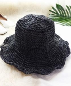 麦わらハット 帽子 麦わら帽子 レディース つば広 つば広ハット 紫外線対策 UV対策 天然素材 つば広帽子 チューリップ 夏 運動会 旅行