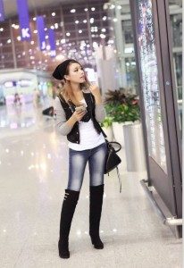 【取り寄せ商品】プラスサイズ 新着 ニーハイ ハイヒール ブーツ 黒