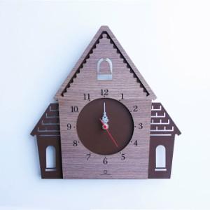 ヤマト工芸 DOUWA HOUSE W ブラウン YK14-001 壁掛け時計 シンプル モダン おしゃれ かわいい 掛け時計 掛時計 ウォールクロック CLOCK