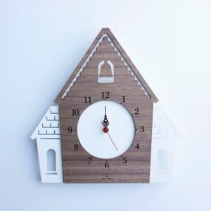ヤマト工芸 DOUWA HOUSE W ホワイト YK14-001 壁掛け時計 シンプル モダン おしゃれ かわいい 掛け時計 掛時計 ウォールクロック CLOCK
