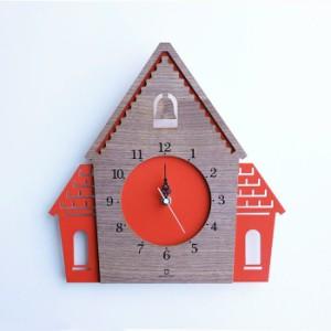 ヤマト工芸 DOUWA HOUSE W レッドブラウン YK14-001 壁掛け時計 シンプル モダン おしゃれ かわいい 掛け時計 掛時計 ウォールクロック C
