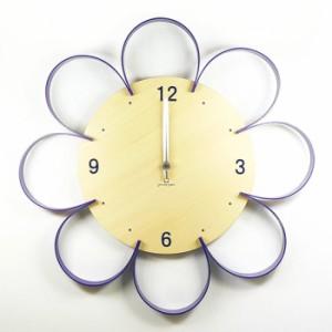 ヤマト工芸 FLOWER CLOCK パープル YK10-103 壁掛け時計 シンプル モダン おしゃれ かわいい 掛け時計 掛時計 ウォールクロック CLOCK 時