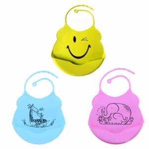 ベビースタイ シリコン製 食事エプロン よだれかけ 柔らかシリコン素材 洗いやすい 前かけ 首回り調節 持ち運び 新生児 BSS26C
