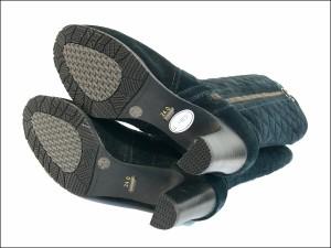 送料無料 本革 スエード キルティング ロングブーツ スエード レディース サイドファスナー 本皮 レザーブーツ ミャンマー製 (3色)