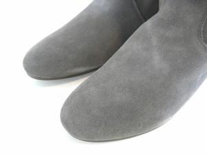 ロングブーツ 本革 レディース インヒール ウェッジソール レザーブーツ スエード カンボジア製 (3色)