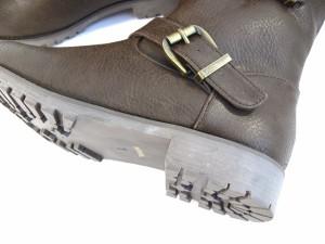 送料無料 ショートブーツ レディース 黒 ローヒール ダブルベルト エンジニア  ジョッキー パンク ロック バイカー ブーティー  (3色)