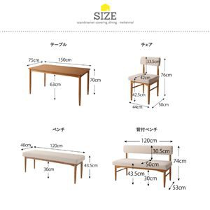 ダイニングセット 3点セット(テーブル+背付ベンチ2脚) 幅150cm テーブルカラー:ナチュラル 背付ベンチカラー:アイボリー×グリーン 北