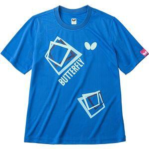 バタフライ(Butterfly) 男女兼用Tシャツ キュービック・Tシャツ 45070 ブルー O