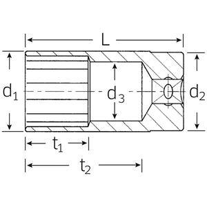 STAHLWILLE(スタビレー) 51A-1.1/16 (1/2SQ)ディープソケット (03420050)