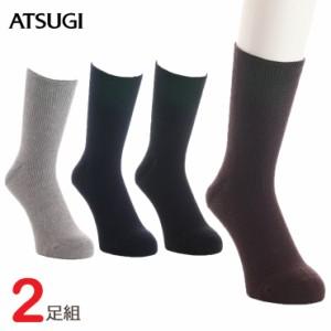 メンズ ソックス しめつけない リブ調(GC78022)2足組 atsugi アツギ メンズ 靴下 紳士靴下 メンズ クルーソックス 口ゴム ゆったり ク