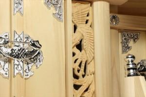 屋根違い■銀風三社■鳳凰の彫刻■大型 幅75cm■東濃ひのき 神棚