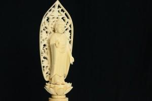 仏像■3.5寸■阿弥陀如来立像 六角台座 白木 浄土宗 ご本尊■仏具(高さ27.4cm×幅10.2cm×奥行き7.6cm)
