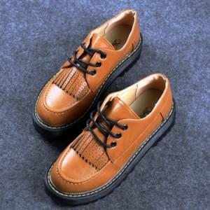 送料無料エンジニア ローヒール ラウンドトゥ 厚底靴 レザー素材 オックスフォード シューズ 靴 スニーカー おじ靴 歩きやすい