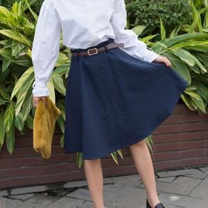 送料無料フレアスカート レディース ボトムス ミディアム丈スカート ひざ丈スカート ベルト付き フレア Aラインスカート ミモレ丈スカー