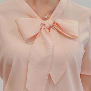 送料無料リボンシャツ 半袖ブラウス ブラウス 半袖 シャツ レディース 通勤 シンプル OL 無地 プルオーバー フォーマル ヘビロテ 快適 涼