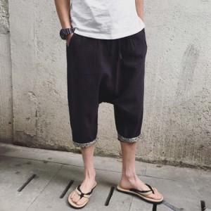 送料無料7分丈 リネンパンツ サルエルパンツ 綿麻パンツ リラックスパンツ サルエル風 ロングパンツ メンズ