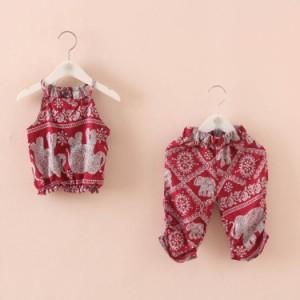 送料無料 女の子 キャミソール+ハーフパンツ エスニック風 キャミソール 半袖 Tシャツ ノースリーブ トップス ハーフパンツ