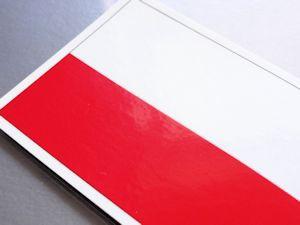 ■ポーランド国旗マグネット 屋外耐候耐水 Mサイズ 8cm×12cm ヨーロッパ