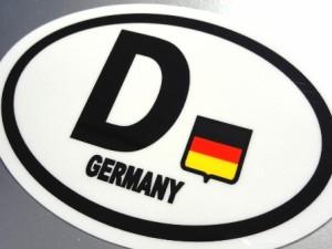 ドイツ D ビークルID・国識別 マグネット屋外耐候耐水 Mサイズ 縦 8.5cm×横 12cm 楕円タイプ Z