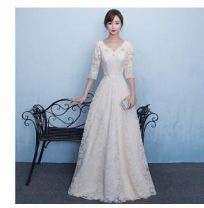 e651a6f2827e6 ウエディングドレス aライン 白 格安 袖あり レース ウェディングドレス 花嫁 結婚式 ブライダル ロング