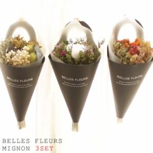 【3個セット】ミニドライフラワーブーケ 花束 プレゼント インテリア スワッグ ドライフラワー ベルフルールジョリーミニョン