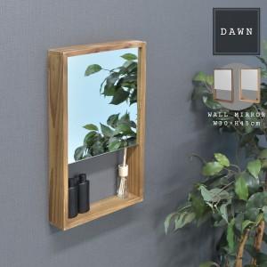 DAWN 収納付き壁掛けミラー (ウッド 木製 収納雑貨 鏡 ミラー 壁掛け ウォール ミニ 整理整頓 ナチュラル ブラウン カントリー 木箱 小