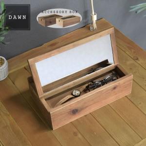 DAWN アクセサリーボックス (ウッド 木製 収納雑貨 アクセサリー収納 ディスプレイ 整理整頓 ナチュラル ブラウン カントリー 木箱 小物