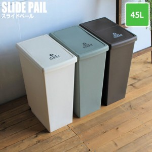 Slide Pail スライドペール 45L (ゴミ箱 ダストボックス ごみ箱 くず入れ 国産 キャスター付き 頑丈 ホワイト ブラウン グリーン)