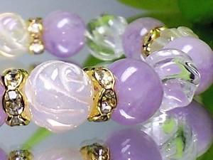 可愛い天然石◆薔薇彫ローズクォーツ・ラベンダーアメジスト・トルネード水晶【天然石】【ブレスレット】【パワーブレス】【数珠】【パワ