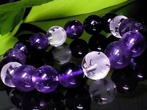 素彫四神獣水晶・天然アメジスト紫水晶10ミリ数珠【天然石】【ブレスレット】【パワーブレス】【数珠】【パワーストーン】【男性用】【女