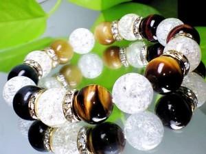 4色タイガーアイ・爆裂水晶クラック水晶12ミリ【天然石】【ブレスレット】【パワーブレス】【数珠】【パワーストーン】【男性用】【女性