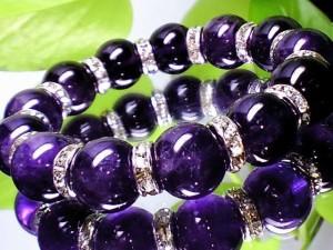 天然アメジスト紫水晶14ミリ銀ロンデル数珠【天然石】【ブレスレット】【パワーブレス】【数珠】【パワーストーン】【男性用】【女性用】