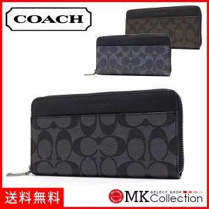 bf50370d4bb9 コーチ 長財布 メンズ レディース COACH Wallet 財布 シグネチャー ジップ チャコール×