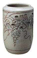 ぶどう透し彫(かすみ釉) (信楽焼・陶器・傘立て・M)