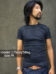 R.P.ミラー R.P. MILLER  半袖Tシャツ クルーネック ブラック (米国製 BLACK パネルリブニット無地)