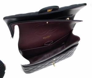シャネル CHANEL デカマトラッセ Wチェーンショルダー ゴールド金具 黒カーフ ショルダーバッグ (35600)