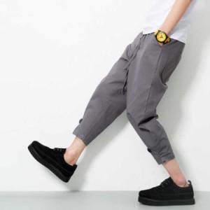 d7feafe2bb70e サルエルパンツ/メンズ/綿パンツ/クロップドパンツ/裾ロール/短パン/. cttt2606