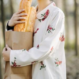 長袖ブラウス コーデュロイシャツ ワイシャツ シャツブラウス トップス レディース 前開き 折襟 総花柄 ゆったり 可愛い 森ガ