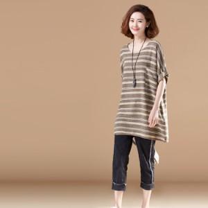 チュニック レディース ボーダーtシャツ ロングtシャツ 綿麻tシャツ 五分袖 ナチュラル風tシャツ 大きいサイズ 森ガール系t