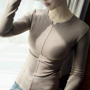 無地tシャツ 長袖tシャツ レディース クルーネック インナーtシャツ シンプルtシャツ タイトtシャツ スリムtシャツ 伸縮性