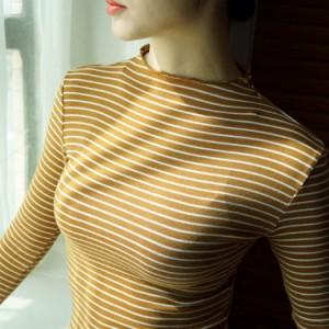 ボーダーTシャツ レディース 長袖Tシャツ スカラップネック インナーTシャツ クルーネックTシャツ カットソー カジュアルTシャツ