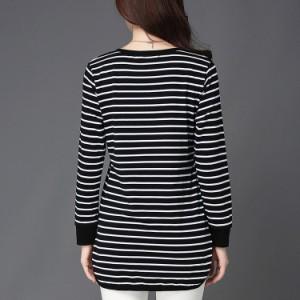 ロングTシャツ 長袖 レディース クルーネックTシャツ サイドスリットTシャツ ボーダーTシャツ 大きいサイズ シンプル カジュアル
