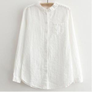 ホワイトシャツ レディース フリル衿 立ち襟シャツ 無地シャツ 長袖シャツ 森ガール系シャツ ナチュラル風 オフィスシャツ