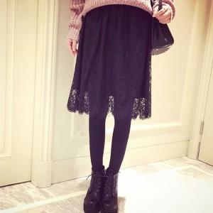 送料無料上品な表情振りまくウエストゴム☆フラワーレースミディアム丈フレアスカート レディース スカート flare skirt ミニスカート