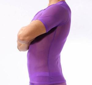 Brave Person 極薄 ファインメッシュ メンズ半袖Tシャツ 4色 B2226 送料160 男性下着 メンズインナー お洒落インナー メンズ セクシーイ