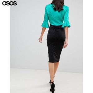 エイソス レディース スカート ブラック ASOS DESIGN slinky pencil skirt with ruched back detail(1246253)