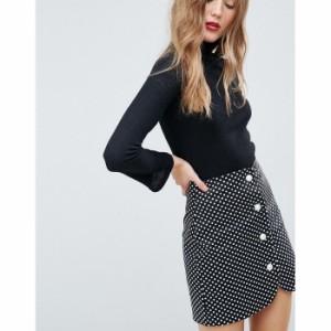 エイソス レディース スカート ブラック/ホワイト ASOS Spot Mini Skirt with Faux Pearl Buttons(1151583)