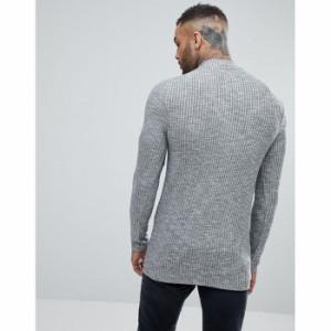 エイソス メンズ 長袖Tシャツ グレー ASOS Longline Muscle Long Sleeve T-Shirt With Turtle Neck(1171904)