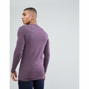 エイソス メンズ 長袖Tシャツ パープル ASOS DESIGN longline muscle fit t-shirt with long sleeves in purple(1169333)