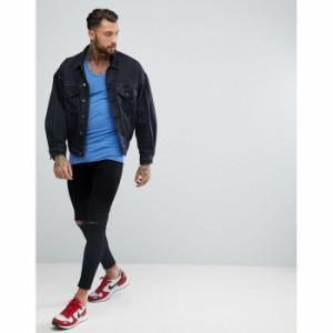 エイソス メンズ タンクトップ ダッチブルー ASOS Muscle Fit Vest In Blue(1172454) メール便可